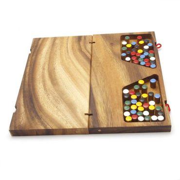X Klapp Halma - Folding Checkers groß Holz Puzzle Knobel IQ-Spiel – Bild 2