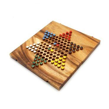 X Klapp Halma - Folding Checkers groß Holz Puzzle Knobel IQ-Spiel – Bild 5