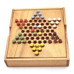 X Mini 6er Halma - Checkers Holz Puzzle Knobel IQ-Spiel 001