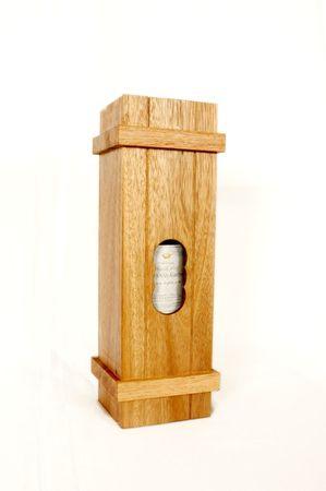 Flasche Getränk in Pandoras Box Schatztruhe groß Holz Puzzle Knobel IQ-Spiel