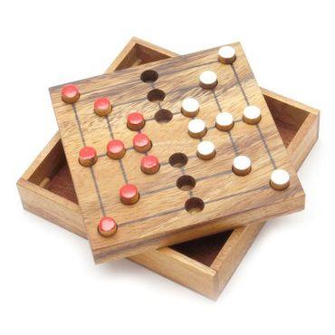 X Taschen Pocket Mühle - Strategy B Holz Puzzle Knobel IQ-Spiel – Bild 1