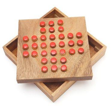 X Taschen Solitär A - Pocket Solitaire Holz Puzzle Knobel IQ-Spiel – Bild 1