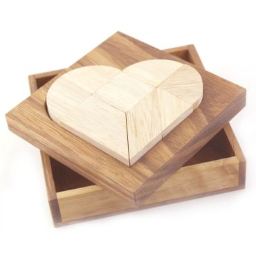 Gebrochenes Herz Tangram Puzzle - Broken Heart Holz Puzzle Knobel IQ-Spiel – Bild 1