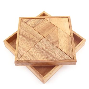 Pocket Taschen Tangram 7-teilig Legespiel Holz Puzzle Knobel IQ-Spiel – Bild 1