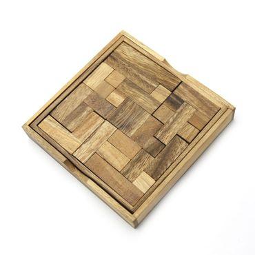 Pocket Taschen Quadrat Tangram Legespiel Holz Puzzle Knobel IQ-Spiel