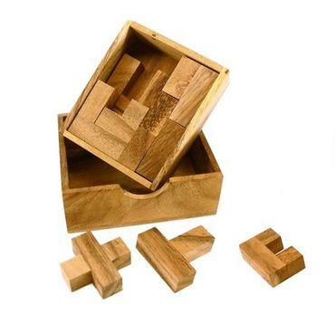 Doppel Karo Puzzle - Double Square Puzzle Legespiel Holz Puzzle Knobel IQ-Spiel