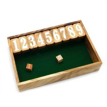Shut the Box, Schließe die Box groß Holz Puzzle Knobel IQ-Spiel – Bild 1