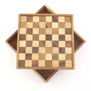 Pocket Taschen Schachbrett-Puzzle Legespiel Holz Puzzle Knobel IQ-Spiel – Bild 1