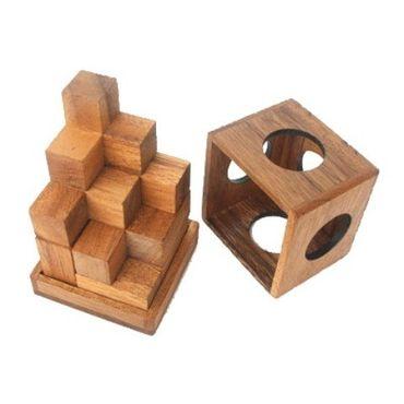 Soma Würfel 3D (M) - Soma Cube Holz Puzzle Knobel IQ-Spiel – Bild 4