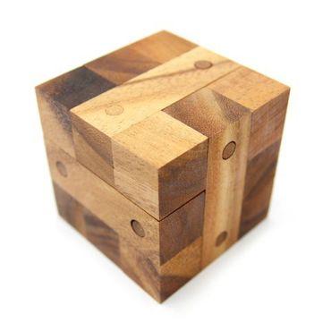 Schloss Puzzle - Locking Puzzle Würfel Holz Puzzle Knobel IQ-Spiel – Bild 1