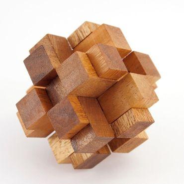 Teufelsknoten 3D Karo Würfel - 3D Squares Holz Puzzle Knobel IQ-Spiel – Bild 1