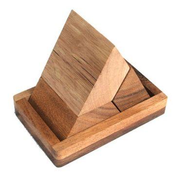 Pyramide, Pyramiden Puzzle 3-teilig mit Boden Holz Puzzle Knobel IQ-Spiel – Bild 1
