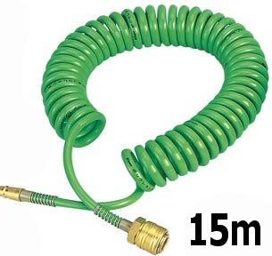 Druckluftschlauch Spiralschlauch 15m mit Anschlüssen – Bild 2