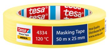TESA Abdeckband tesa® Mirka 4334 – Sharp Tape, gelb 25 mm x 50 m VE= 36 St.