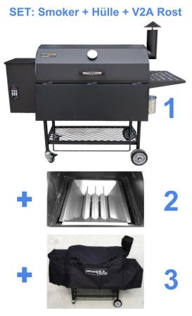 Kombi: Pelletsmoker L + Cover + V2A Rost (Profi Pelletgrill Smoker Holzpelletsmoker Holzpelletgrill)