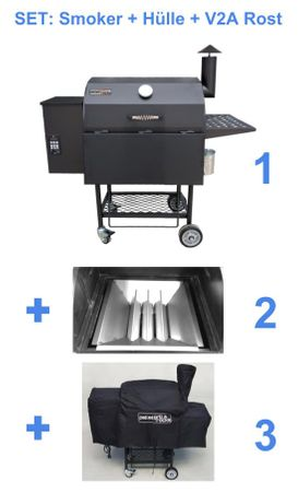 Kombi: Pelletsmoker S + Cover + V2A Rost (Profi Pelletgrill Smoker Holzpelletsmoker Holzpelletgrill) – Bild 1