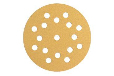 MIRKA Scheiben Gold Ø 125 mm Klett P180 17-fach gelocht (100 St)   – Bild 1