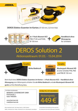 AKTION: MIRKA DEROS Solution 2 Elektro-Exzenterschleifer + Schleifmittel
