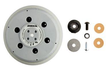 """MIRKA Grip-Teller (Unipad)  hart Ø 150 mm Klett  61-Loch (1 St)  5/16"""" + M8 Gewinde, inkl. Schutzauflage, geeignet für 6-Loch, 6+1-Loch, 9-Loch, 15-Loch, Abranet"""