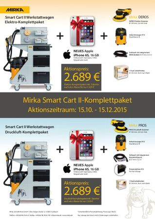 Aktion! MIRKA SMART CART II - Komplettpaket Druckluft inkl. Apple iPhone 6s, 16 GB – Bild 1