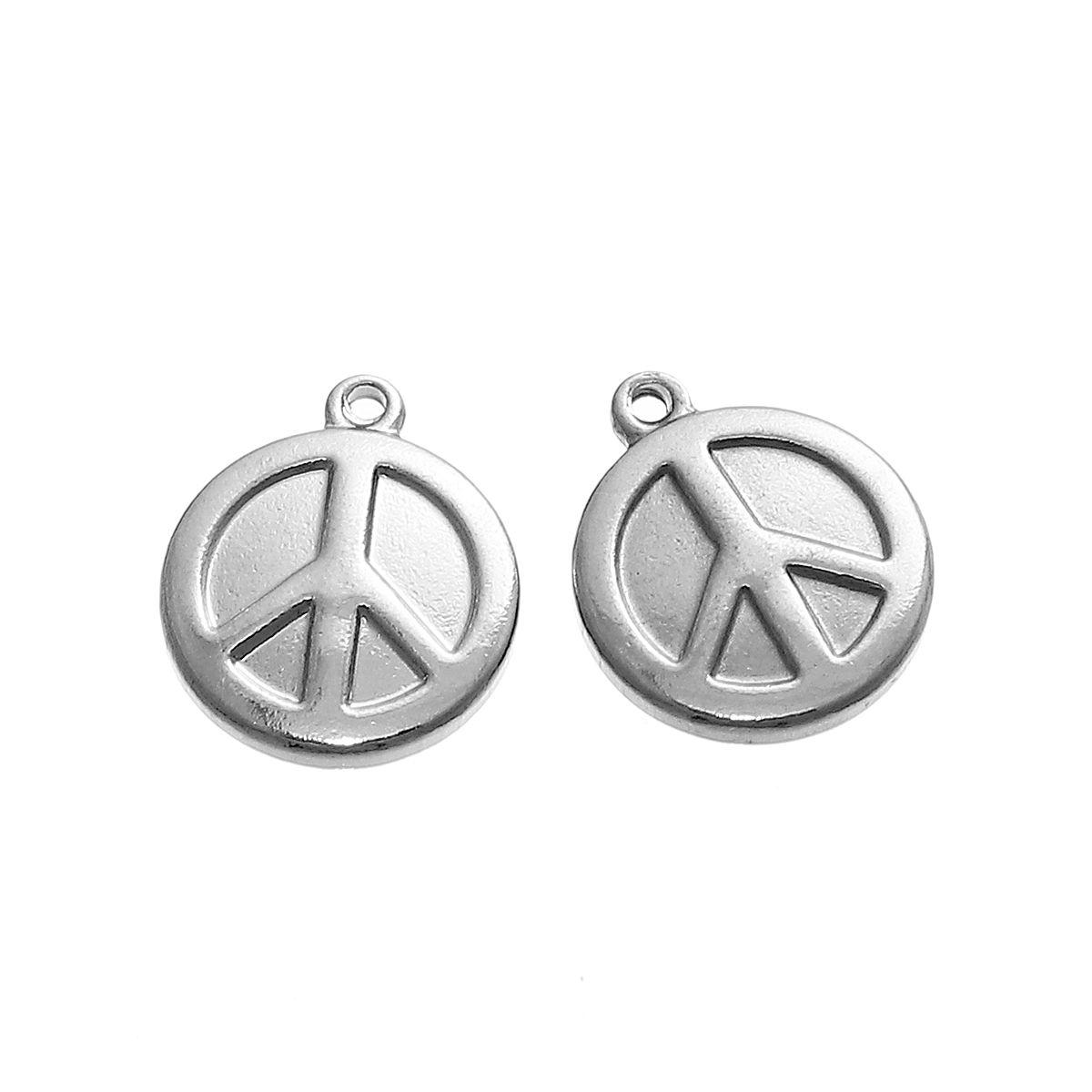 Edelstahl Metallanhänger Peace - 1 Stk. - Silber