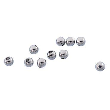 Sadingo Kleine Edelstahlperlen, rund - Silberfarben - 3 mm - 50 Stück - Loch ca.: 1,0 mm - Perlen zum Schmuck basteln