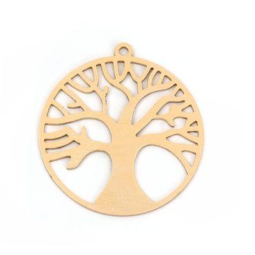 1 Metallanhänger Lebensbaum - 49 x 45 mm - Gold