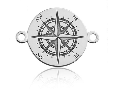Sadingo 1x Sterling Silver 925er silber Verbinder Kompass- 16,9 x 12,2 mm - Dicke 0,4 mm - Farbe wählbar