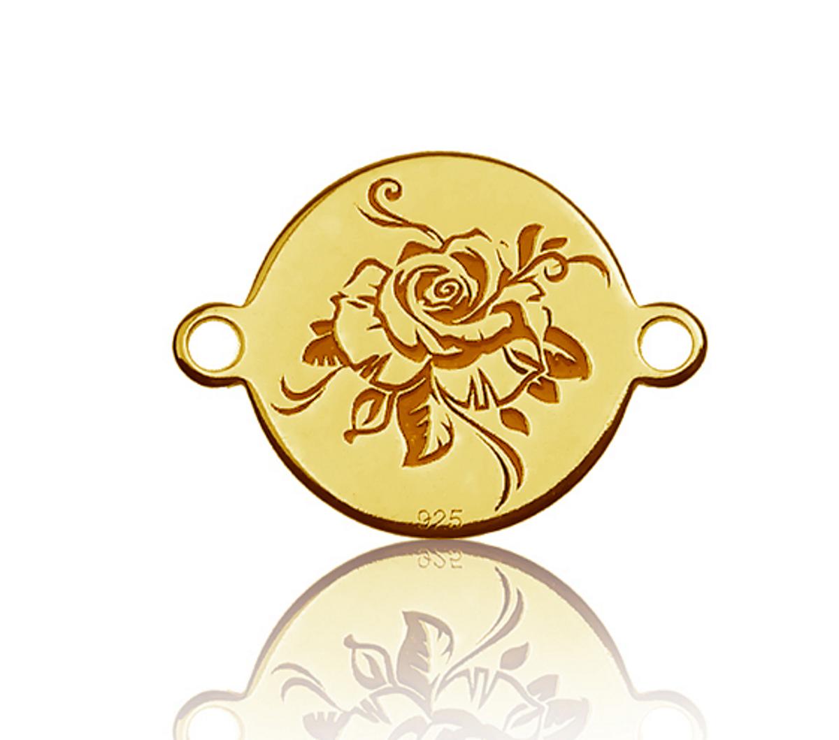 Schmuckverbinder 925er silber Rose - 1 Stück - 13 x 10 mm