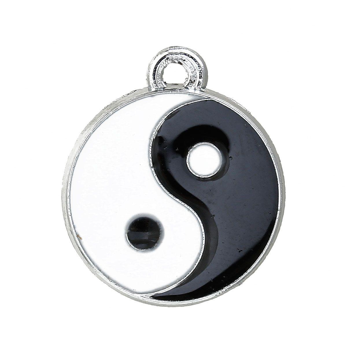 Anhänger rund, Yin Yang - 10 Stk. - silber