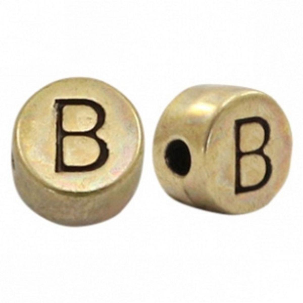 Buchstabenperle Bronze - 1 Stück - Ø 7 mm