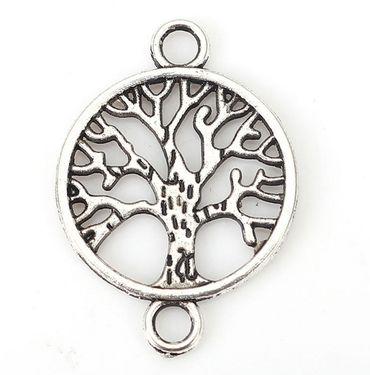 Sadingo Schmuckverbinder Lebensbaum Silber Metall , Baum des Lebens - 10 Stk. - Armband selber machen, diy Schmuck