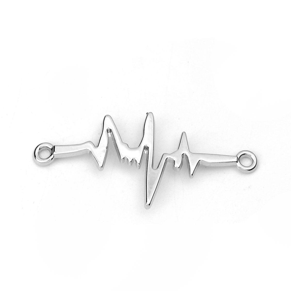 Schmuckverbinder Herzschlag - 5 Stück - 44 x 20 mm