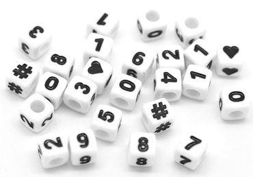 Zahlenperlen - 300 Stk. - 7 x 7 mm - weiß, schwarz