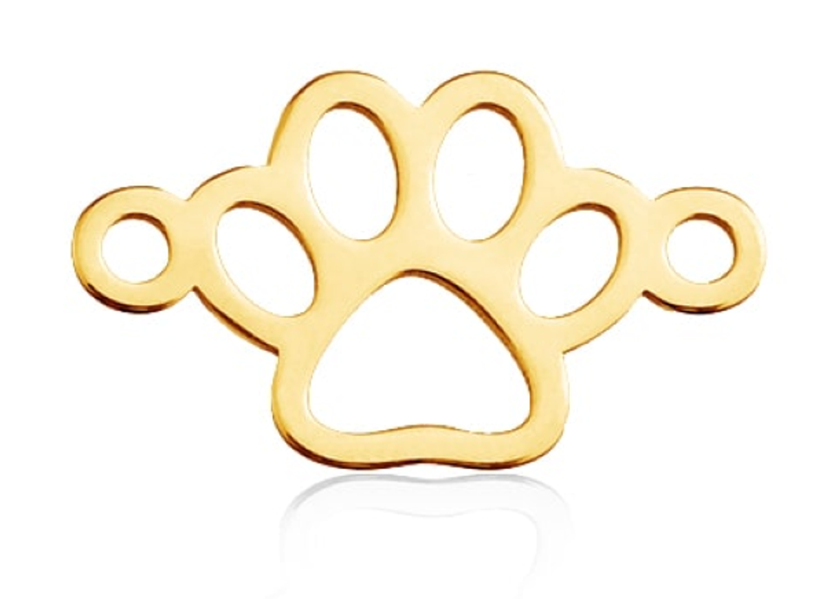 Schmuckverbinder Hundepfote, 1 Stk., Farbe wählbar