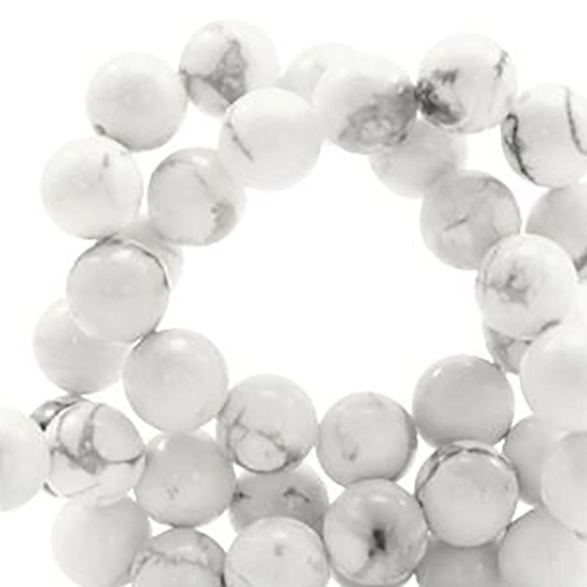 Halbedelstein Achatperlen weiß grau, 6 mm, 60 Stück