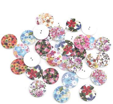 Holzknöpfe Blumen Mix - 100 Stück - 25 mm
