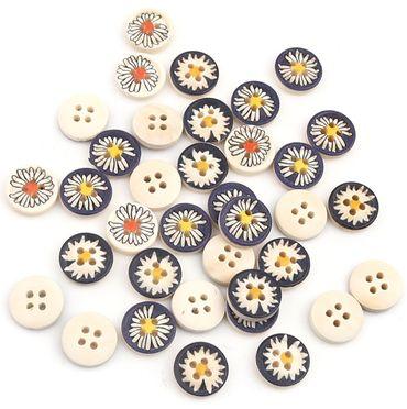 Holzknöpfe Gänseblümchen Mix - 50 Stück - 13 mm oder 18 mm