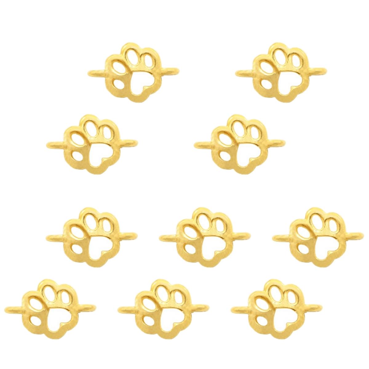 Verbinder Pfote Hund, Katze - 10 Stück - 17 x 11 mm - Gold