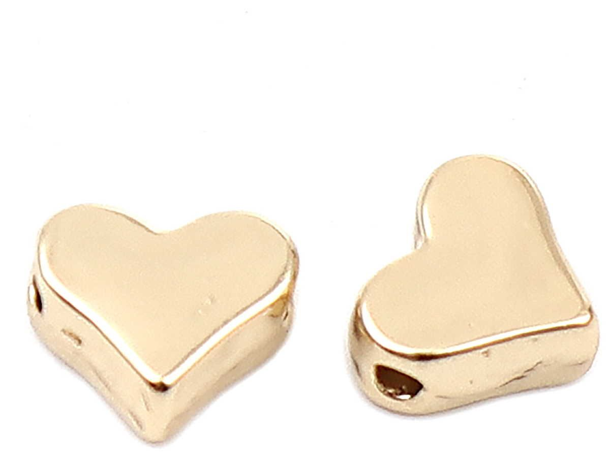 Herz Perlen Gold, 10 Stück 7mm, Armband Metallperlen