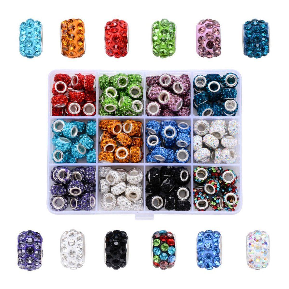 Charm Perlen Set mit Strass, 180 Stück, 12 Farben á 15 Perlen, 11mm