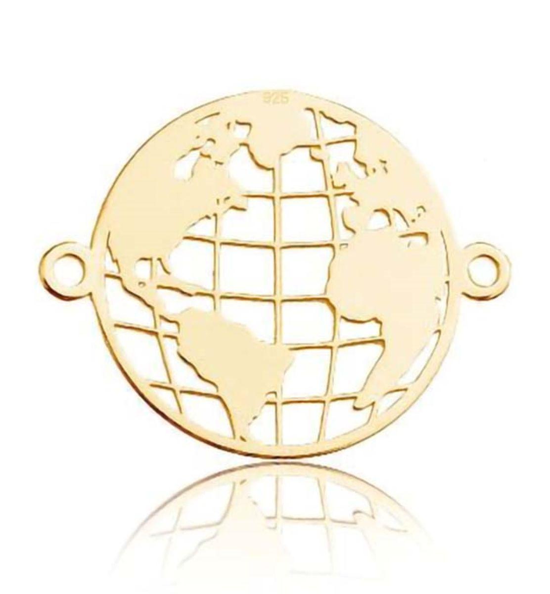 Schmuckverbinder Globus 925 Silber, 22x17 mm 1 Stück, Farbe wählbar