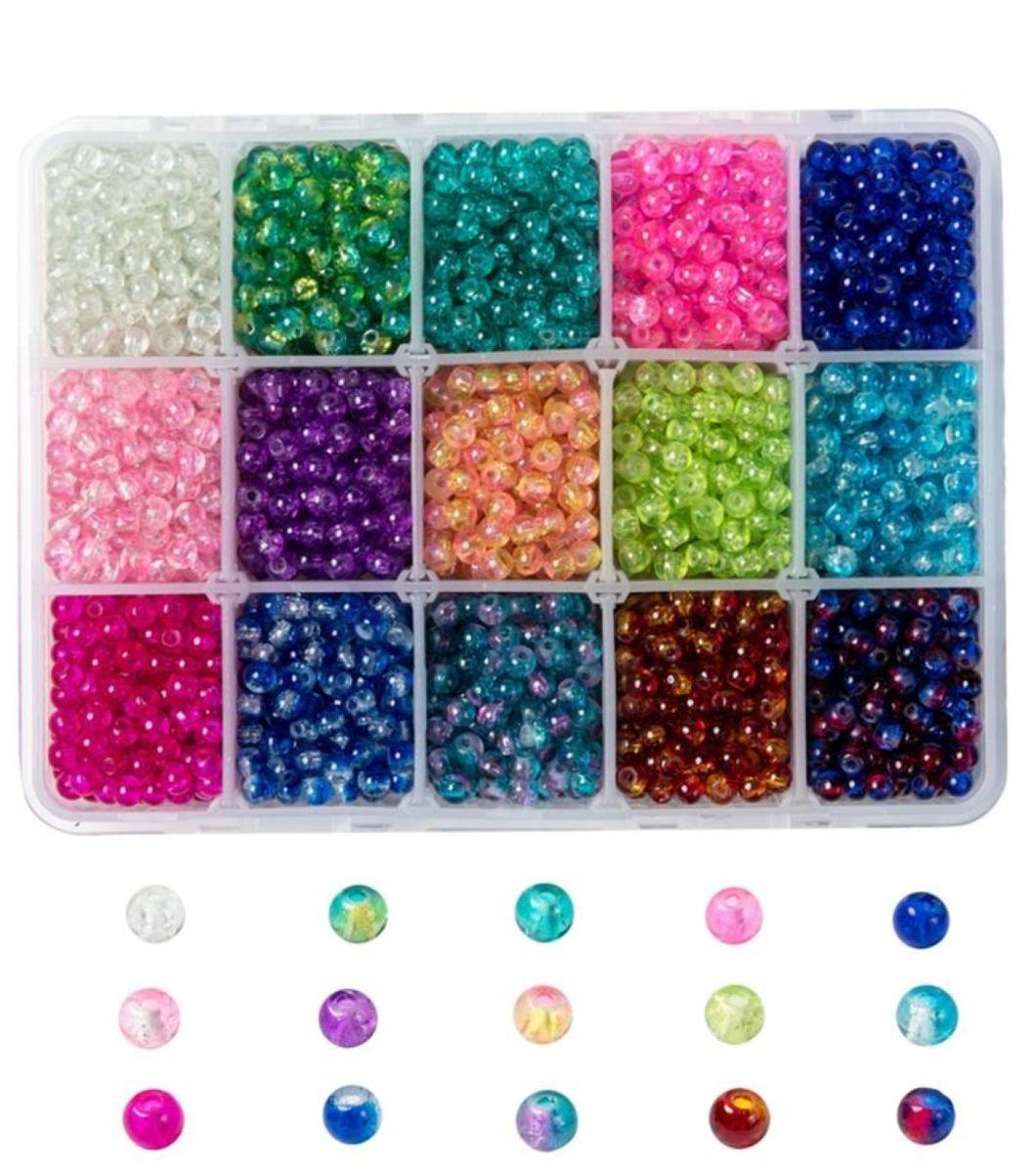 Glasperlen Crackle 8mm, 1 Box, ca. 420 Stück, 15 verschiedene Farben.
