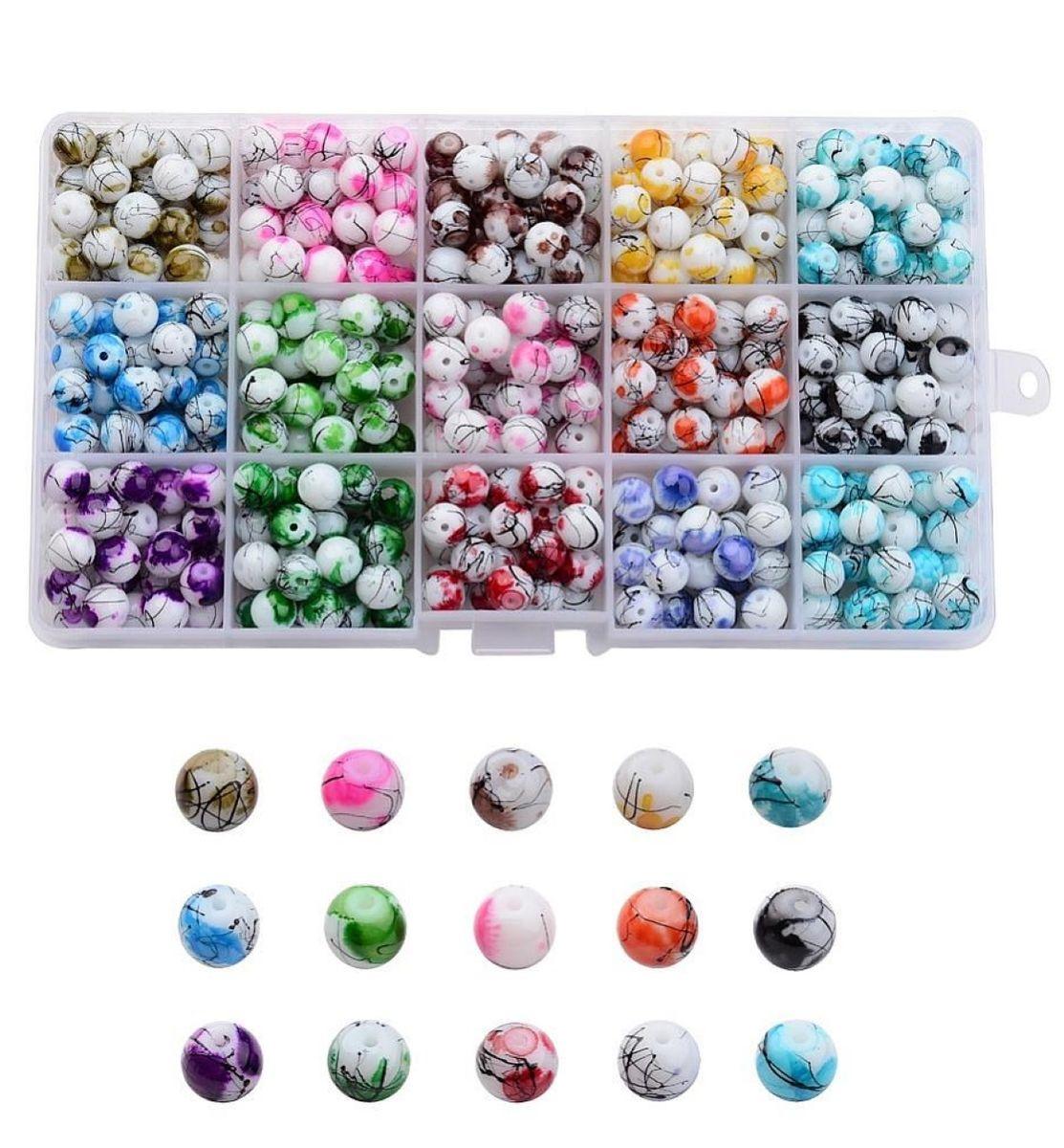 Glasperlen Set marmoriert 8mm, 1 Box, ca. 400 Stück, 15 verschiedene Farben