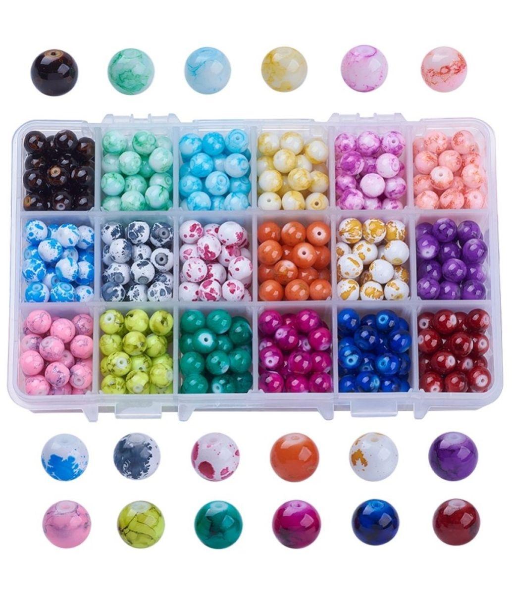Glasperlen Set marmoriert 8mm, 1 Box, ca. 500 Stück, 18 verschiedene Farben