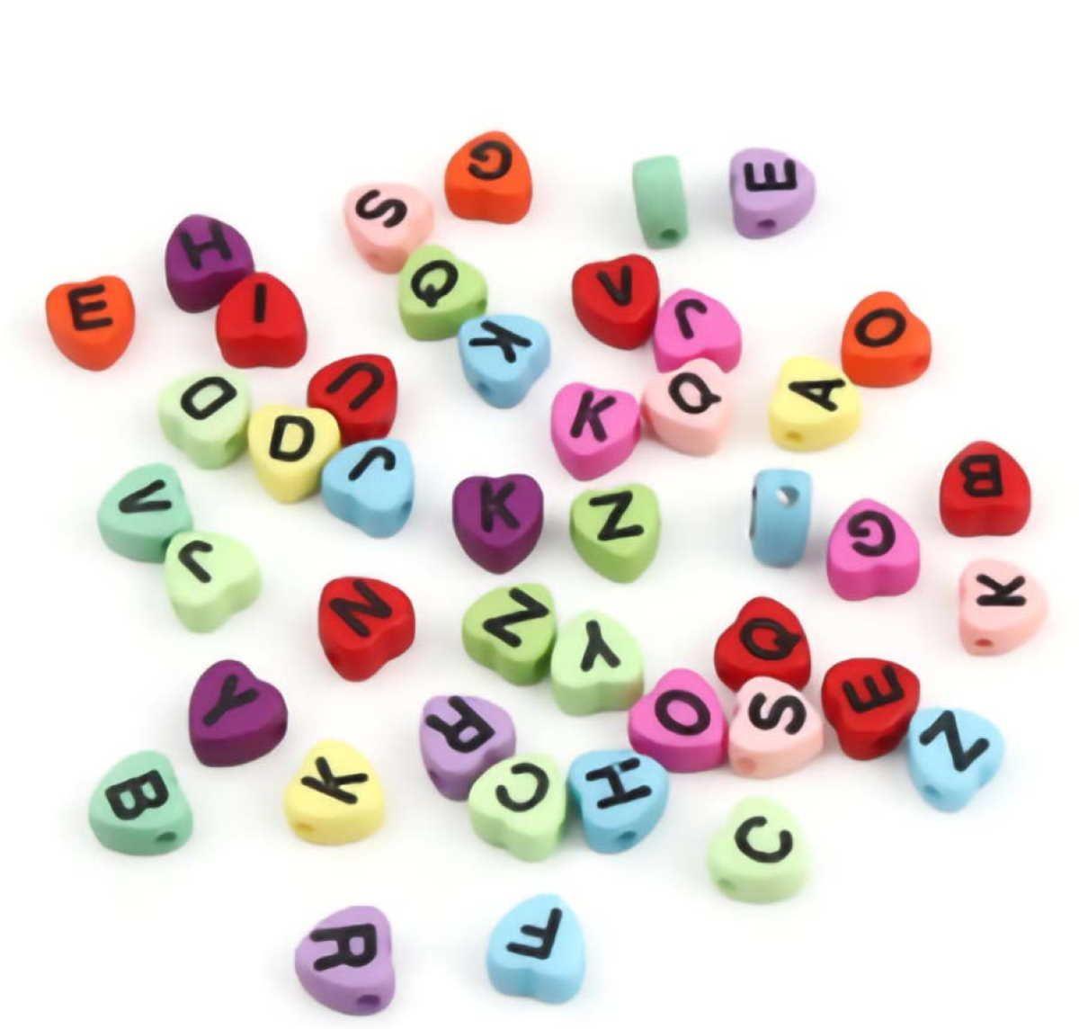 Buchstabenperlen Herzform 300 Stück 7mm - Buchstaben gemischt