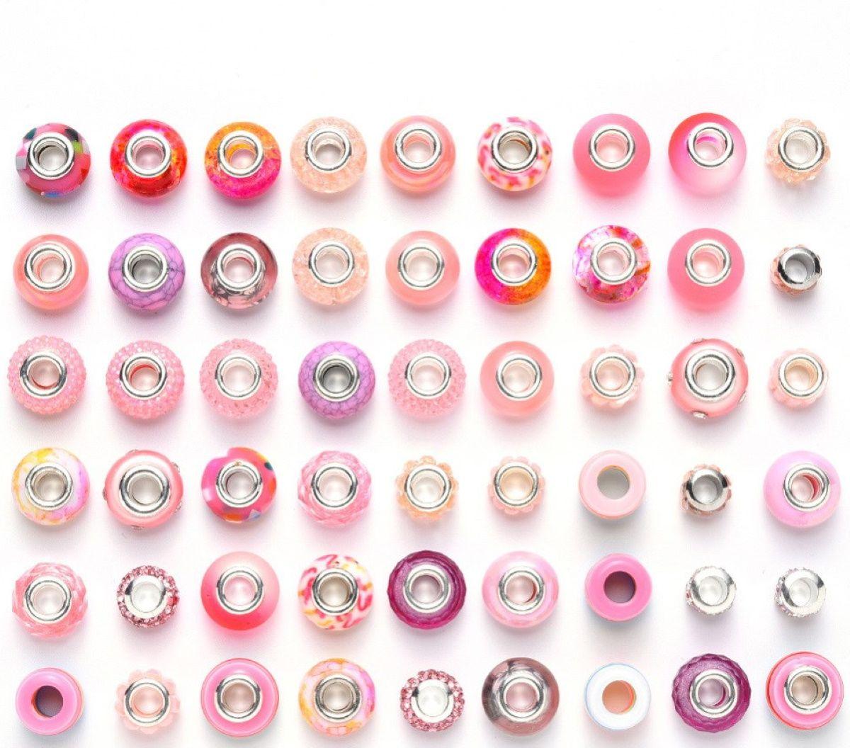 Charm Perlen Set, 50 Stück, Farbe wählbar