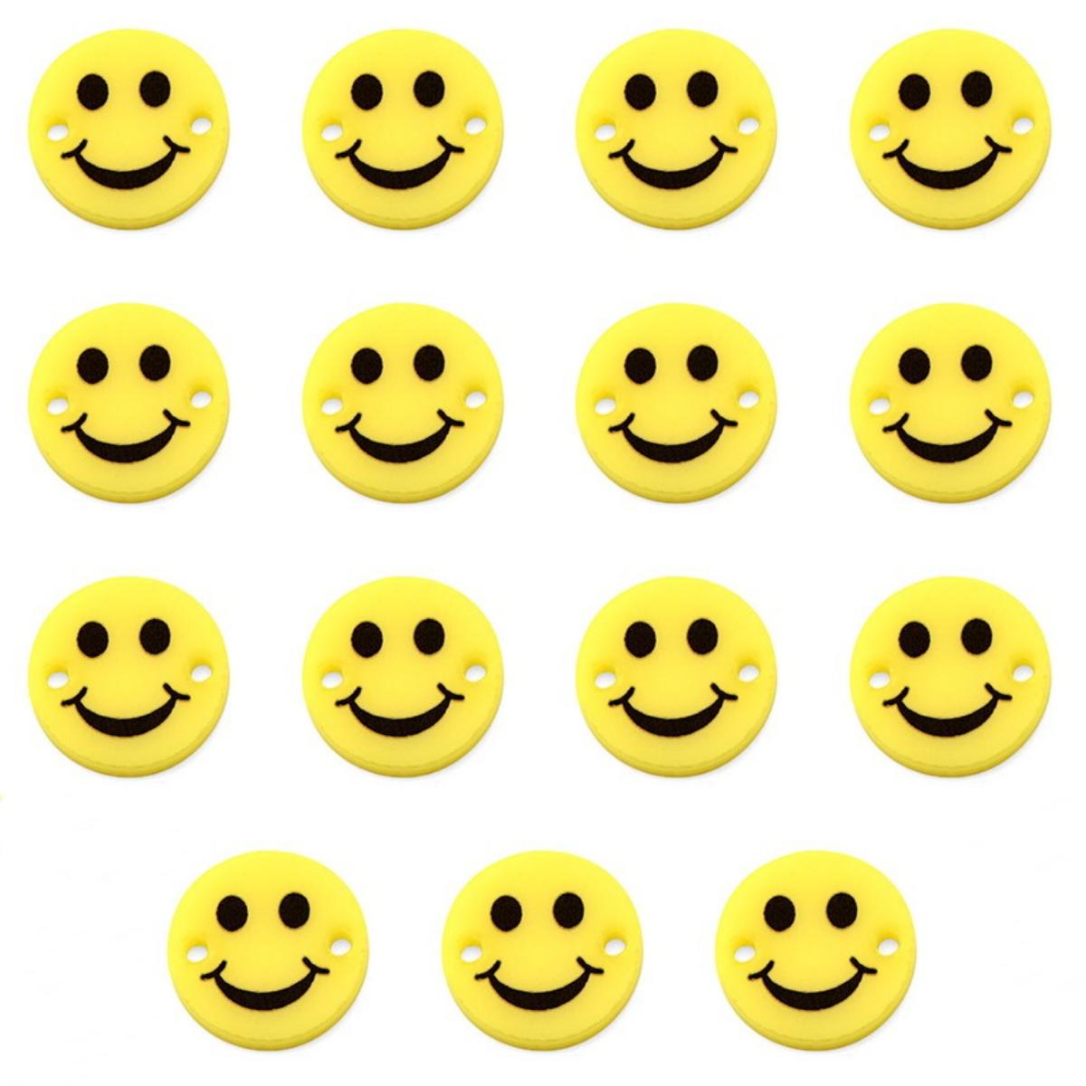 Schmuckverbinder Smiley 15 Stück 15mm