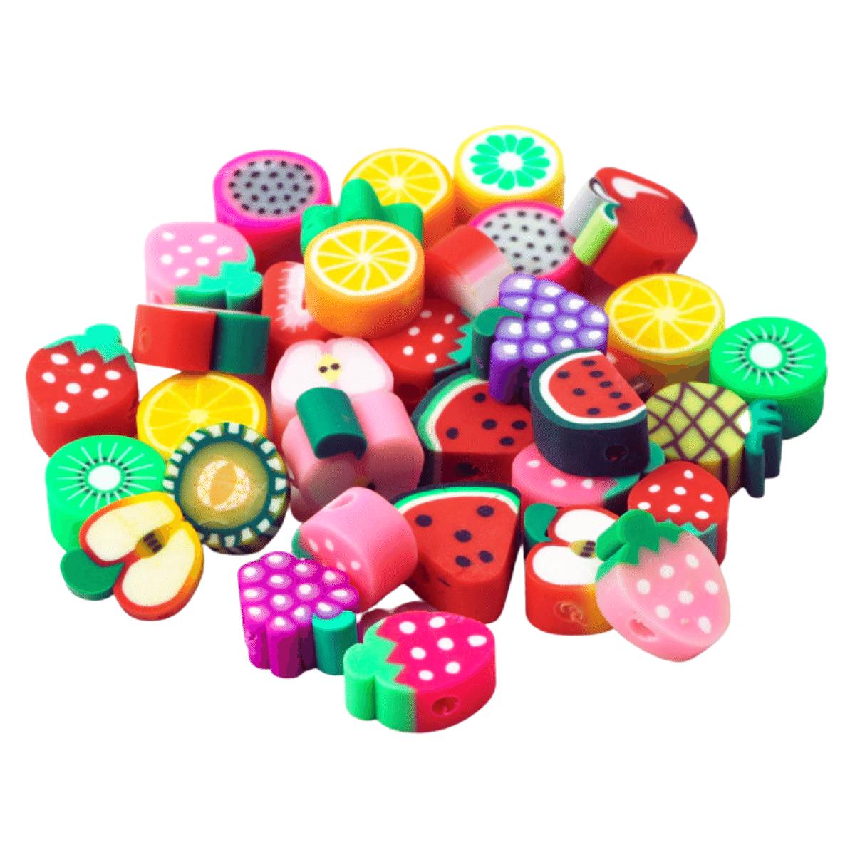 Früchte Perlen 40 Stück 10mm, Obstperlen aus Polymer Clay