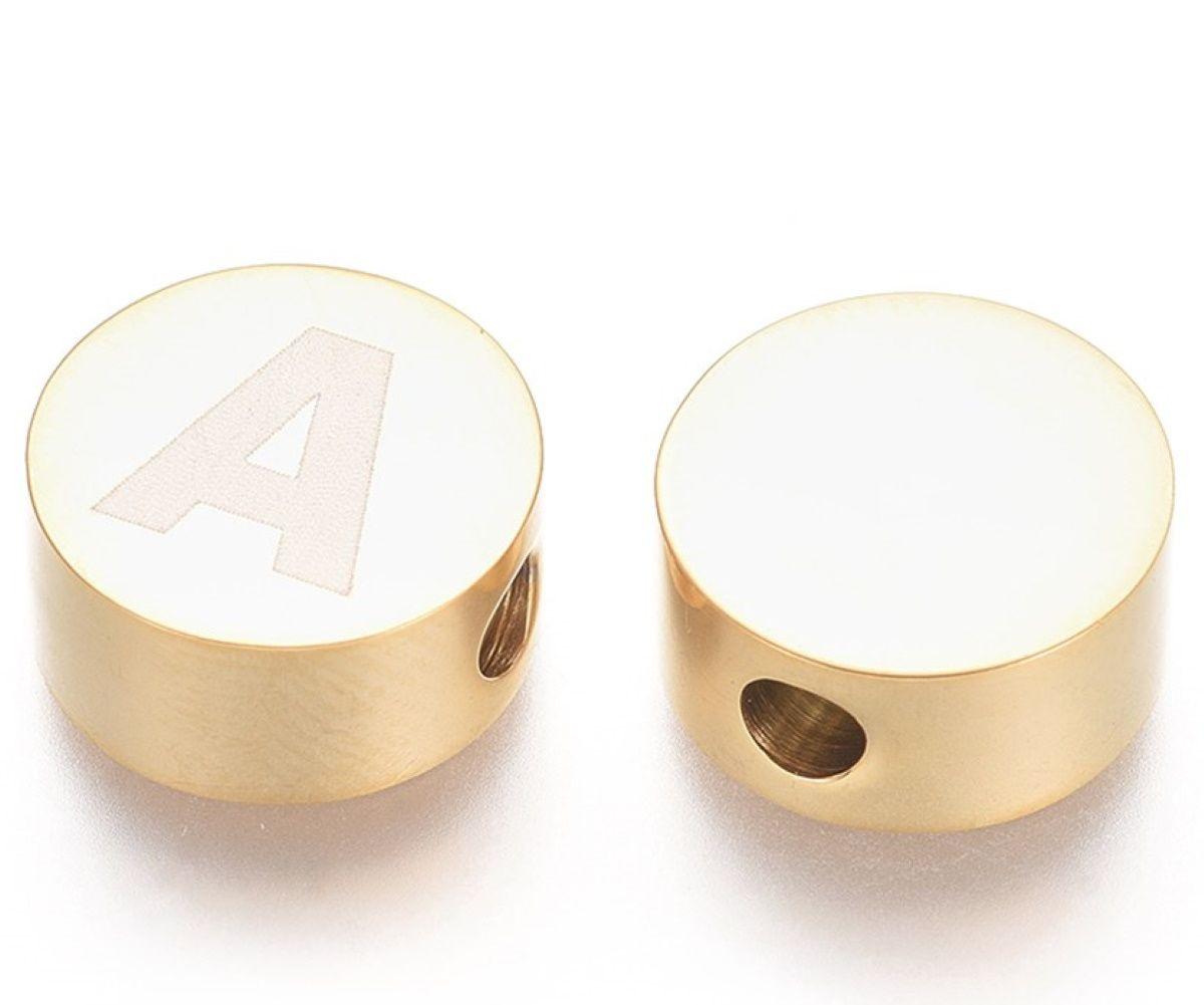 Buchstabenperlen Edelstahl Gold 10mm 1 Stück, Buchstabe wählbar